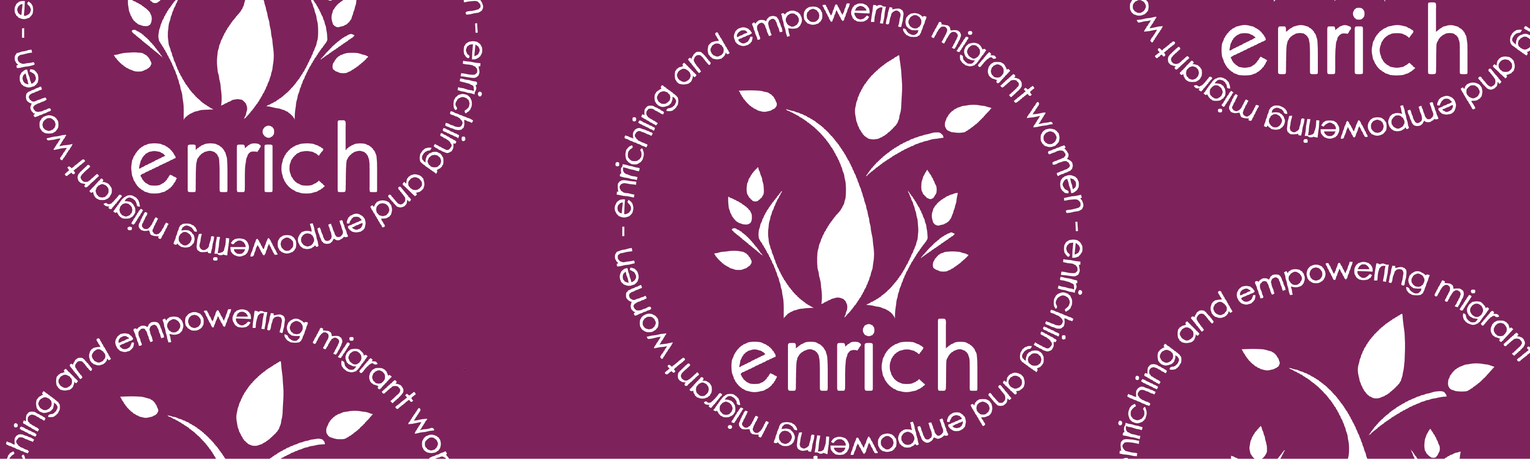 Enrich white logo on purple background